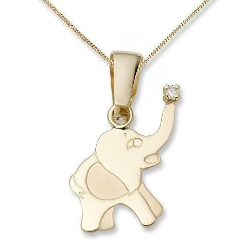 Miore Children's Diamond Necklace, 18ct Yellow Gold, Diamond Elephant Pendant MK016P Of Length 45