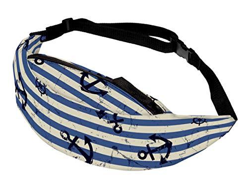 Alsino Unisex Bauchtasche Festival Hippie Hipster Gürteltasche mit Reißverschluss und Innenfach - 13 cm Breit, All-Over Print Motiv, GT-120 Anker blau weiß gestreift