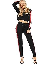 WearAll Women's Long Sleeve Hood Popper Cropped Sweatshirt Jogging Bottoms Loungewear Set 6-14