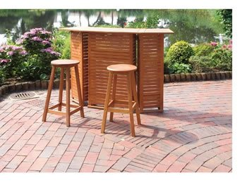 Bartheke , Hausbar, Gartenbar, Eukalyptus-Holz FSC geölt