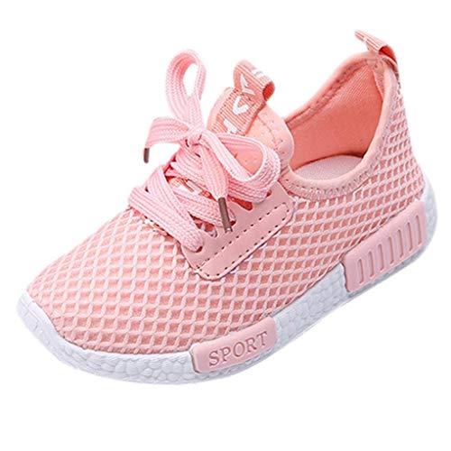 QinMM Kleinkind Kinder Herbst Sport Laufen Babyschuhe Jungen Mädchen Brief Mesh Schuhe Turnschuhe Hohe Qualität Rosa Weiß Schwarz 25EU-34 EU (33 EU, Rosa)