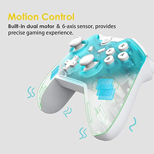 JFUNE Mando Inalámbrico para Nintendo Switch,  Pro Controlador Wireless Switch Gamepad,  6- Axis Gyro Dual Motor Switch Controller-  Nueva versión 2019 (Verde)