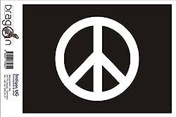INDIGOS UG Aufkleber Autoaufkleber - JDM Die Cut Auto OEM - Peace - 110x110 mm weiß - Auto Laptop Tuning Sticker Heckscheibe LKW Boot