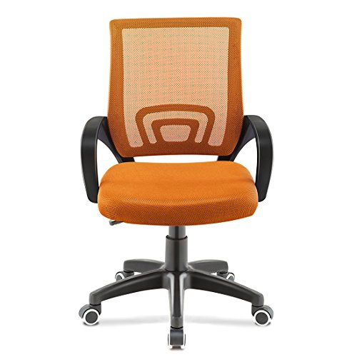 JL Comfurni Chaise de bureau pivotante et réglable en maille, dossier bas, Orange, Normal Size For Adults