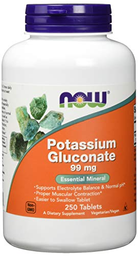 Now Foods Potassium Gluconat (Kalium) Glutenfrei, 99mg, 250 vegane Tabletten