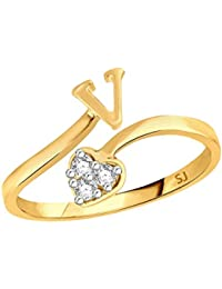 Sukai Jewels Heart Initial 'V' Gold Plated Alloy & Brass Cubic Zirconia Alphabet Finger Ring For Women And Girls...