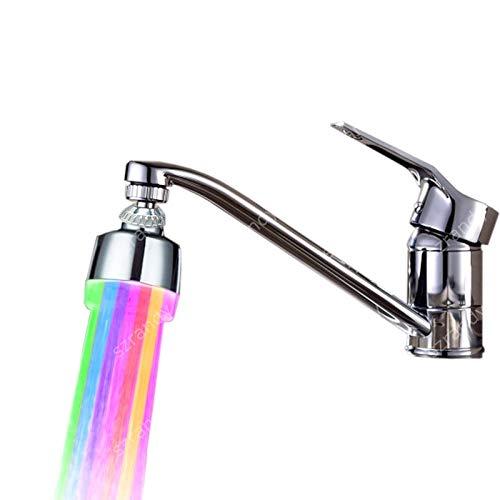 360 Grad drehbarer ABS Mehrfarbiger Wasserhahn für Küche Badezimmer Wasser Glow LED Wasserhahn Kopf Wasserstrahl Auslauf LED Wasserhahn Licht Yichener (Led Waschbecken Kopf)