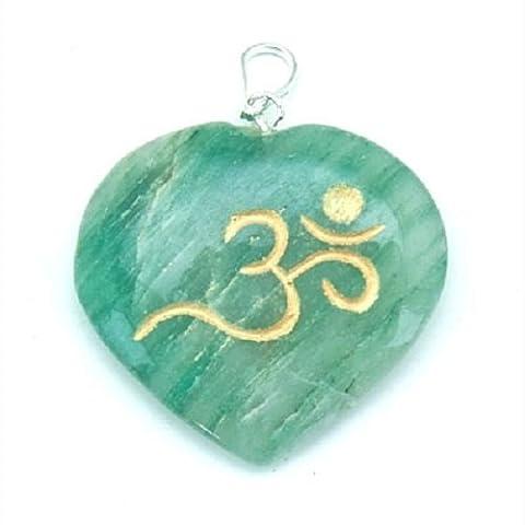 Green Jade heart shaped OM symbol pendant in gift bag mediation healing gift 3.2cm