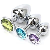 iAmotus Plugs Anals 3 Pcs, Grand/Moyen/Petit Butt Plug Sex Toys Bijoux Désign Fétiche Diamant Rond en Acier Inoxydable…