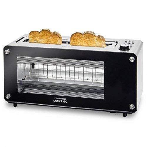 Cecotec Grill-pain VisionToast. Fenêtres en verre, Fente, 7 Niveaux pour Toaster, 3 Fonctions , 7 Positions, Capacité pour 2 tranches et 1260 W.