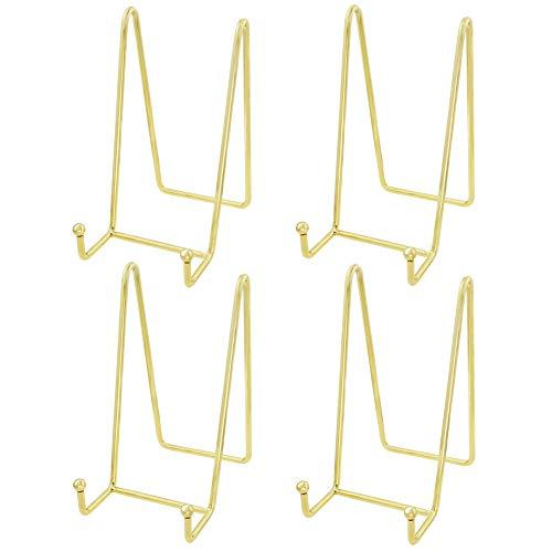 Hetoco (4 Stück Gold Metall Tellerständer Tellerhalter Eisen Staffelei Display Ständer für Schüssel Teller Kunst Foto Bilderrahmen-6inchx3inch