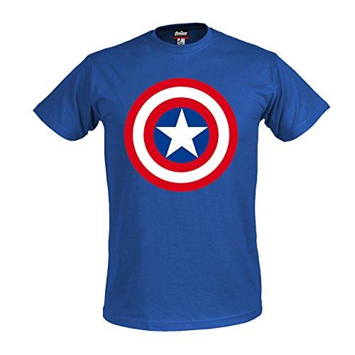 Avengers - T-shirt con motivo Age of Ultron con scudo del super eroe Marvel Captain America - Licenza ufficiale - Blu - XL