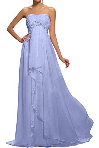 Gorgeous Bride Modisch Traegerlos Empire Chiffon Lang Festkleider Abendkleider Ballkleider Lavendel