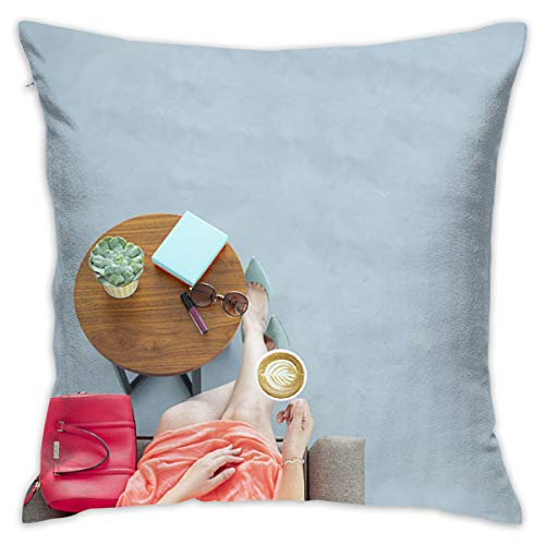 jiger Throw Pillow Cushion Cover,Woman Wearing Peach Skirt Sitting On Sofa Chair Holding A Cup of Coffee,Decorative Square Accent Pillow Case, 18X 18 inches -