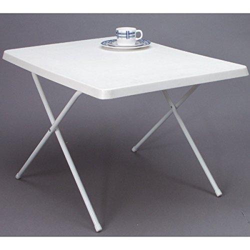 Campingtisch verstellbare Beine ca. 80 x 60 cm abwaschbare Tischplatte, Platzsparend, Tisch Klapptisch Gartentisch Balkontisch Picknicktisch Campingmöbel Höhenverstellbar, Weiß