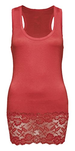 Canotta da donna, in pizzo, spalline incrociate – taglio parte superiore e schiena stile wrestler–Canotta lunga in pizzo Rosso