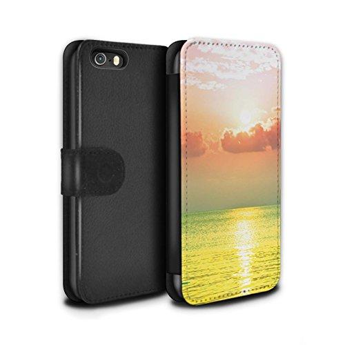 Stuff4 Coque/Etui/Housse Cuir PU Case/Cover pour Apple iPhone 5/5S / Tour Eiffel Croquis Design / Ombre Vivante Collection Mer/Coucher Soleil