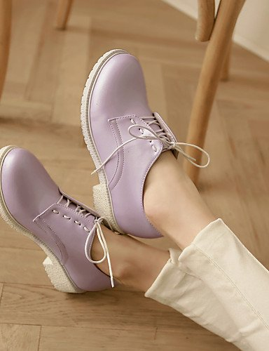 ZQ Scarpe Donna - Stringate - Ufficio e lavoro / Formale - Punta arrotondata - Quadrato - Finta pelle - Rosa / Viola / Bianco , purple-us8 / eu39 / uk6 / cn39 , purple-us8 / eu39 / uk6 / cn39 purple-us5 / eu35 / uk3 / cn34