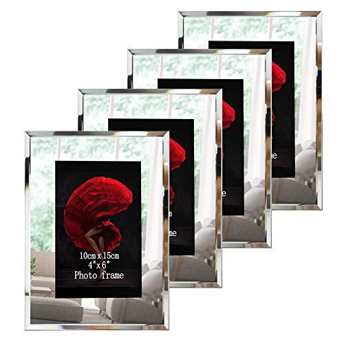 Dreamsyard Bilderrahmen aus Glas, verspiegelte Kanten, für Schreibtisch, Tischplatte 4x6 (Bilderrahmen Glas 4x6)