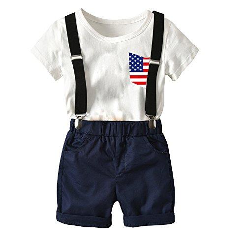 fairy baby Boy Hosenträger Shorts mit T-Shirt 2 Stück Sets Flag Muster Formale Outfits Kurze Ärmel Size 80 (Royal Blue) (Hosenträger Royal Blue)