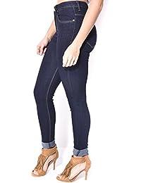 Jeans taille haute bleu brut