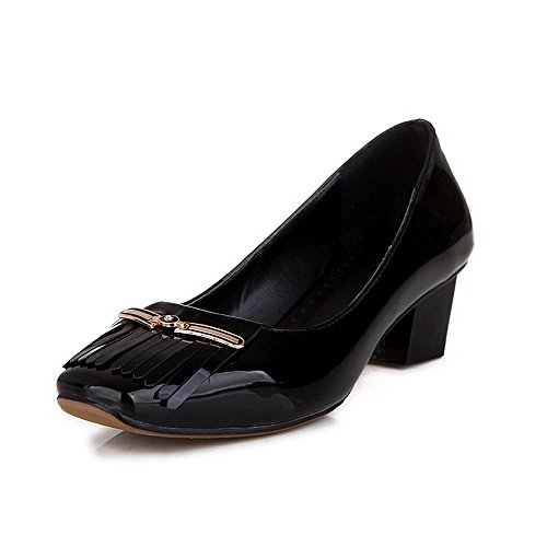 AllhqFashion Femme Tire à Talon Correct Pu Cuir Houppe Carré Chaussures Légeres Noir