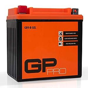 GP-PRO GB9-B 12V 9Ah GEL-Batterie (Ähnlich YB9-B / 50914) (Wartungsfrei & Versiegelt) Akkumulator Motorrad Roller Motorradbatterie Rollerbatterie