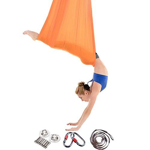 Yuanu Multifunktional Antenne Yoga-Hängematte Ultra Stark Safe Dauerhaft Anti-Gravitations Yoga Hammock Inversionswerkzeug Für Yoga Inversionsübungen Gold One Size