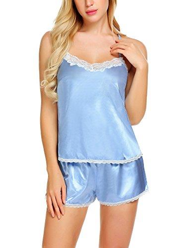 Damen Satin Nachthemd Sexy Dessous Set Nachtwäsche Negligee Babydoll Zweiteilige Reizwäsche Lingerie Sleepwear set mit Shorts Blau S (Schlaf-hose Baumwolle Feste)