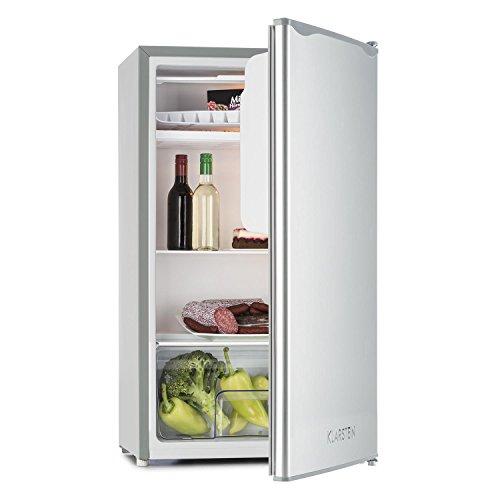 Klarstein Beerkeeper Ice Kühlschrank Kühl-Gefrierkombination (56 Liter Kühlfach, 12 Liter Gefrierfach, 83 cm, Edelstahl, 3 Ablagen, Gemüsefach) silber