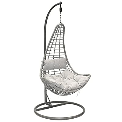 Charles Bentley Garden Patio Outdoor Grey Rattan Hanging Swing Chair With Grey Cushion