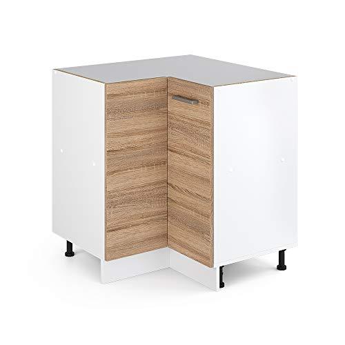 Vicco Küchenschrank R-Line Hängeschrank Unterschrank Küchenzeile Küchenunterschrank Arbeitsplatte, Möbel verfügbar in anthrazit und weiß (Sonoma ohne Arbeitsplatte, Eckunterschrank 87 cm)