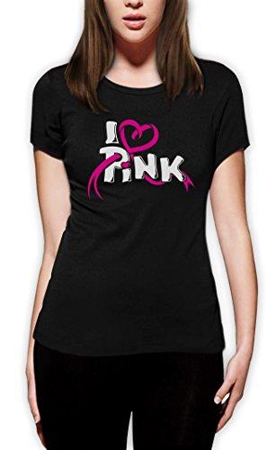 I love Pink - T-Shirt mit Symbol gegen Brustkrebs Damen T-Shirt Slim Fit Small Schwarz (Brustkrebs-schwarz T-shirt)
