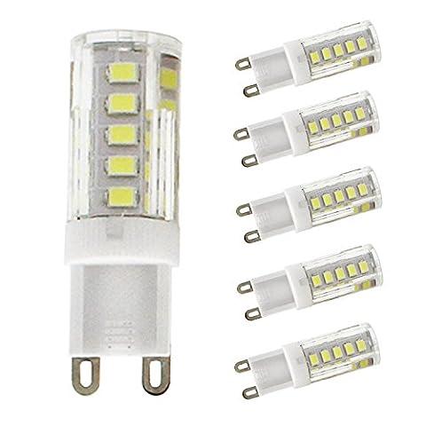 Lediary Lot de 5G9Blanc froid ampoules LED, 33SMD 2835ampoules LED à économie d'énergie, 2W, 220V-240, Mini G9LED Lampe Maïs, G9, 2.00 W 220.00 voltsV