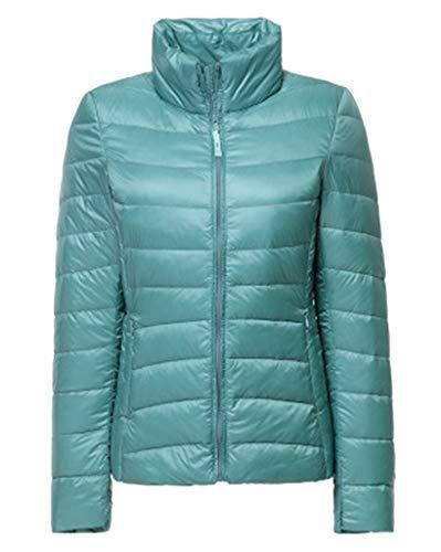Smoon Damen Daunenjacke Packbar Stehkragen Ultra Leicht Gewicht Winter Jacke Wärm Kälteschutz Daunenmantel Outdoorjacke Pink Blau M