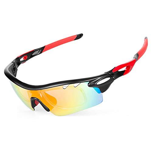 IKuaFly Sportsonnenbrille Sonnenbrille für Das Fahrradfahren TR90 Anti-Fog mit 5 Austauschbaren Brillengläsern UV400 per Uomo, Rot