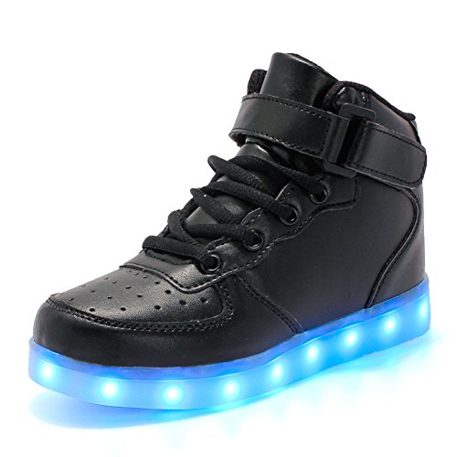 ByBetty-Unisex-Hombre-de-Las-Mujeres-de-Alta-Top-USB-Charger-Luces-LED-7-Colores-Zapatillas-de-Deporte-Light-Up-Zapatillas-Zapatos-Parejas-Zapatos