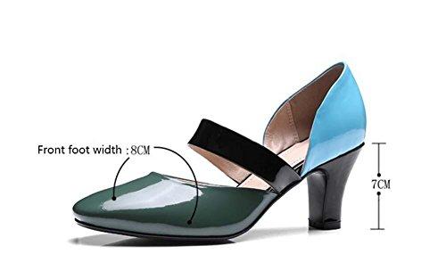 NobS Chaussures en cuir en similicuir Mary Jane Shoes Scarpin Work Shoes Green