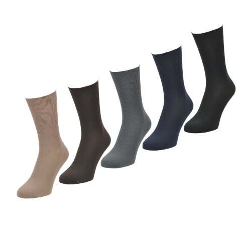 mens-socks-5-pairs-9-11-uk-43-46-eu-mixed-selection-soft-loop-cuff-no-elastic-diabetic-socks