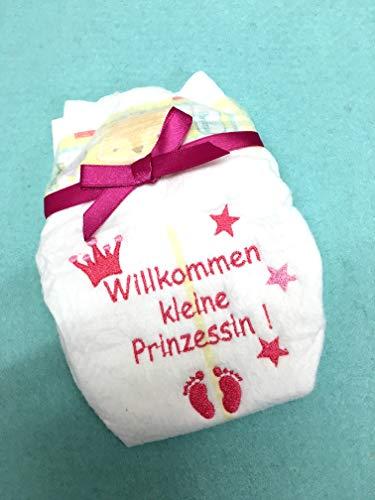 Bestickte Windel zur Geburt Willkommen Kleiner Prinz oder Kleine Prinzessin, bestickte Windel, Geschenk, Geburt