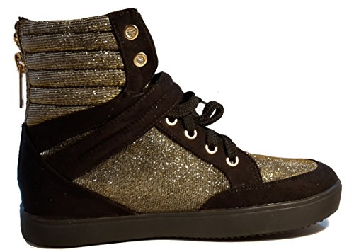 Sneakers, bottes avec boucle d or, chaussures femme, modèle 11094104007981, noir/marron/beige, différents modèles et tailles. Noir / marron / beige.