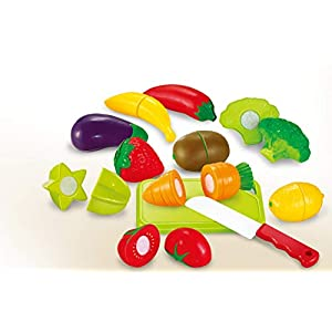 Toyshine Realistic Sliceable 12 Pcs Fruits and Vegetables Cutting Play Toy Set