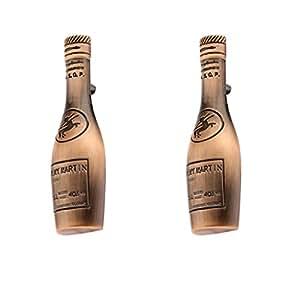 Baoblae 2Pieces Antique Style Copper Bronze Wine Bottle Shaped Cabinet Wardrobe Door Drawer Pull Handle Grip Knob
