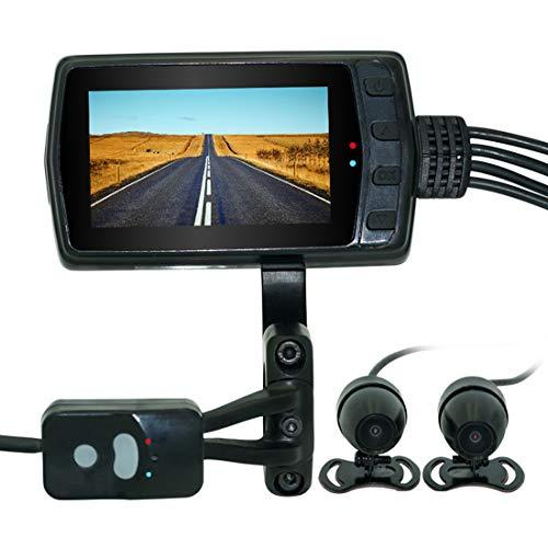 SSCJ Moto Dash Cam Visione Notturna Impermeabile 1080p Dual Lens Moto Dash Cam Video Recorder con Schermo LCD da 3,0'Impermeabile 140 Gradi