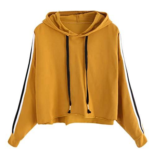 UFACE Damen Langarm Hoodie Gestreifter Pullover Langarm Hoodie Sweatshirt Pullover mit Kapuze Pullover Tops Bluse(Gelb,EU/46CN/L) -