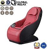 GURU® Poltrona massaggiante Shiatsu 2D - Rosso (modello 2019) - Poltrona relax con 3 programmi di massaggio - Sedia massaggiante con sistema Bluetooth e USB - 2 Anni di Garanzia GLOBAL RELAX® Italia
