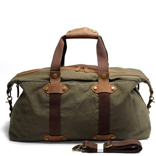 WMA-Retro Öl Wachs Leinwand Reisetasche Aus Leder Schulterdiagonale Handtasche Hohe Kapazität Gepäcktasche,Green -