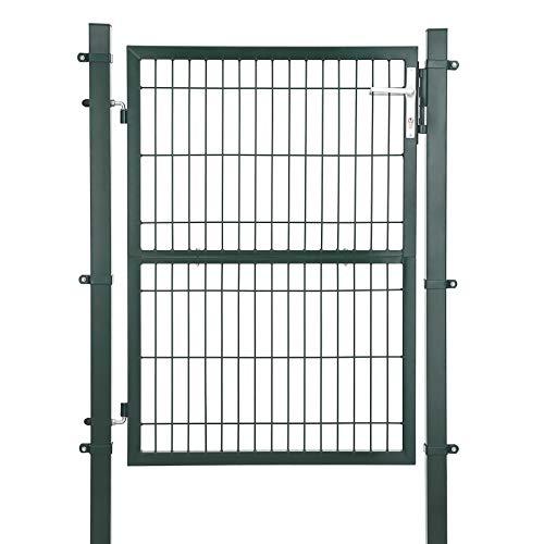 SONGMICS Gartentor aus verzinktem Stahl robust und langlebig mit Schloss und Schlüssel Tormaße: 125 x 106 cm Grün GGD175L -