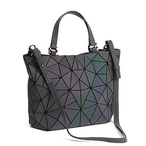 Chenrry Geometrische Leuchtende Geldbörse und Handtaschen für Damen Holographische Tasche Top-Griff mit Reißverschluss Schließung Messenger Schulranzen Taschen NO.1 - Handtasche Geldbörse