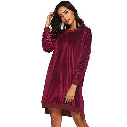 Damen Langarm Kleider Dasongff Frauen Einfarbig Einstellbare Ärmel Abendkleid Partykleid Minikleid Retro Vintage Elegant Rundhals Kleid